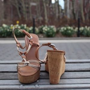 Coach Georgiana Cork Wedge Sandal 11B Tan Gold